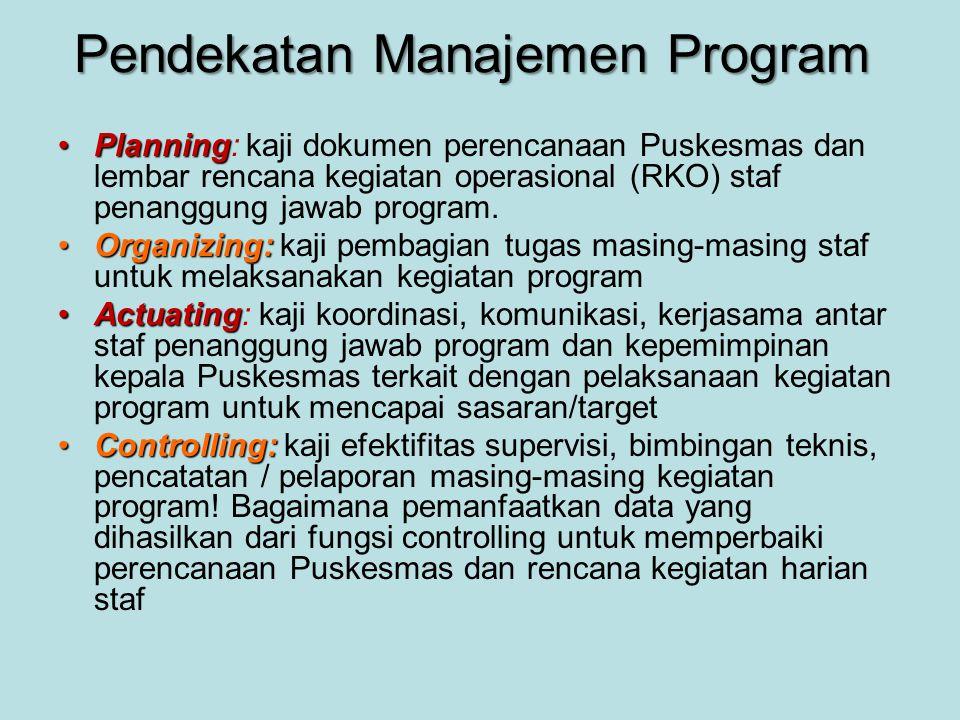 Pendekatan Manajemen Program •Planning •Planning: kaji dokumen perencanaan Puskesmas dan lembar rencana kegiatan operasional (RKO) staf penanggung jaw