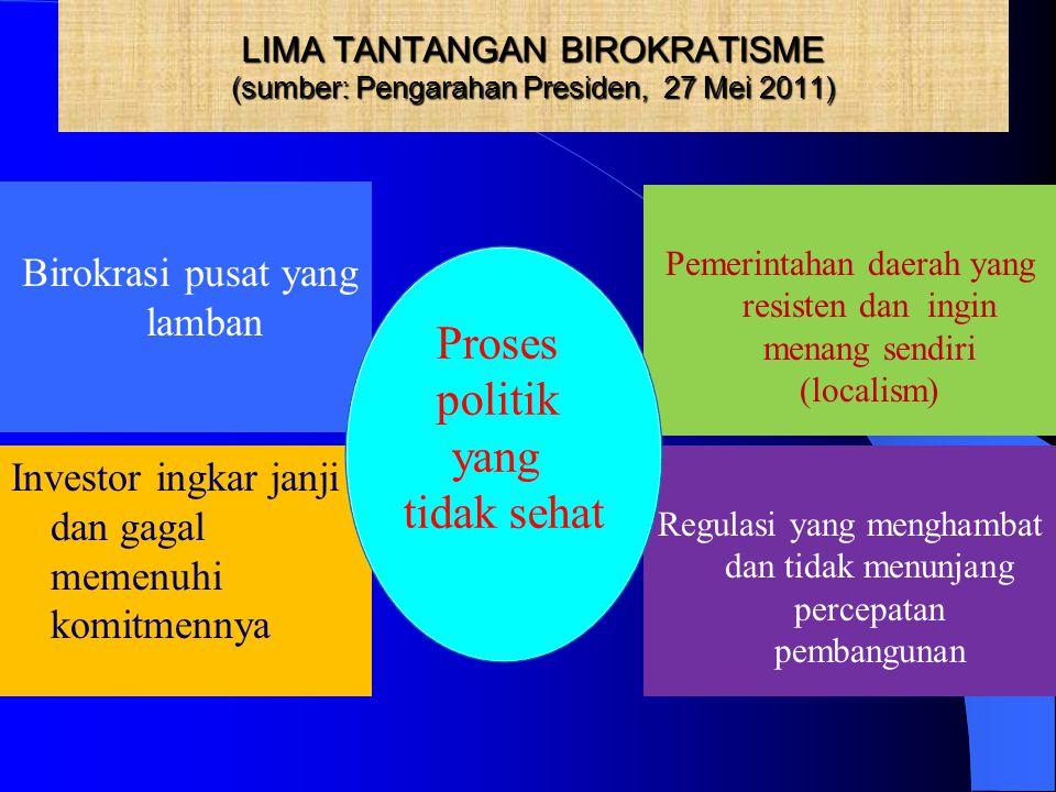 LIMA TANTANGAN BIROKRATISME (sumber: Pengarahan Presiden, 27 Mei 2011) Birokrasi pusat yang lamban Pemerintahan daerah yang resisten dan ingin menang