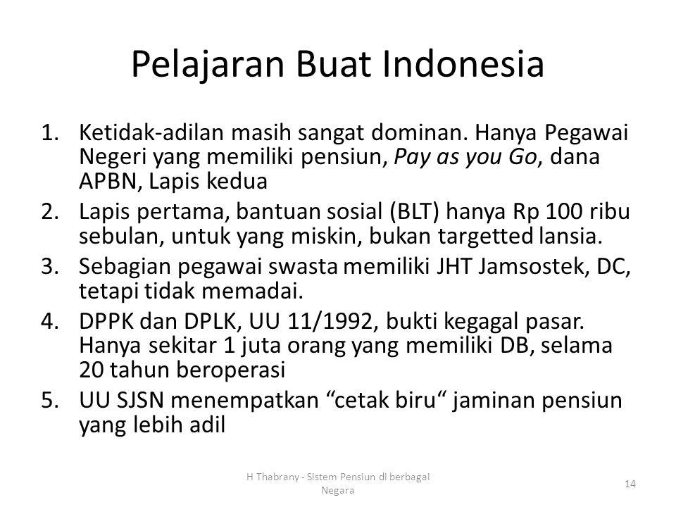 Pelajaran Buat Indonesia 1.Ketidak-adilan masih sangat dominan. Hanya Pegawai Negeri yang memiliki pensiun, Pay as you Go, dana APBN, Lapis kedua 2.La