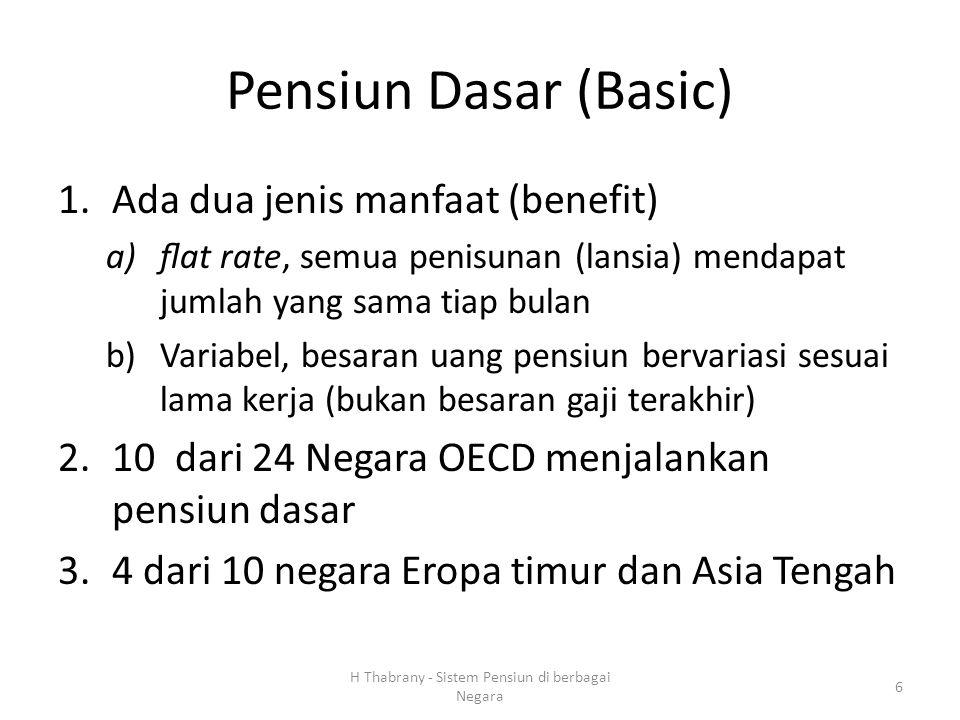 Pensiun Dasar (Basic) 1.Ada dua jenis manfaat (benefit) a)flat rate, semua penisunan (lansia) mendapat jumlah yang sama tiap bulan b)Variabel, besaran