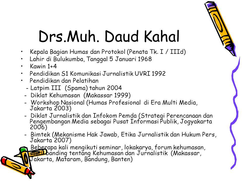 Drs.Muh. Daud Kahal •Kepala Bagian Humas dan Protokol (Penata Tk. I / IIId) •Lahir di Bulukumba, Tanggal 5 Januari 1968 •Kawin 1+4 •Pendidikan S1 Komu