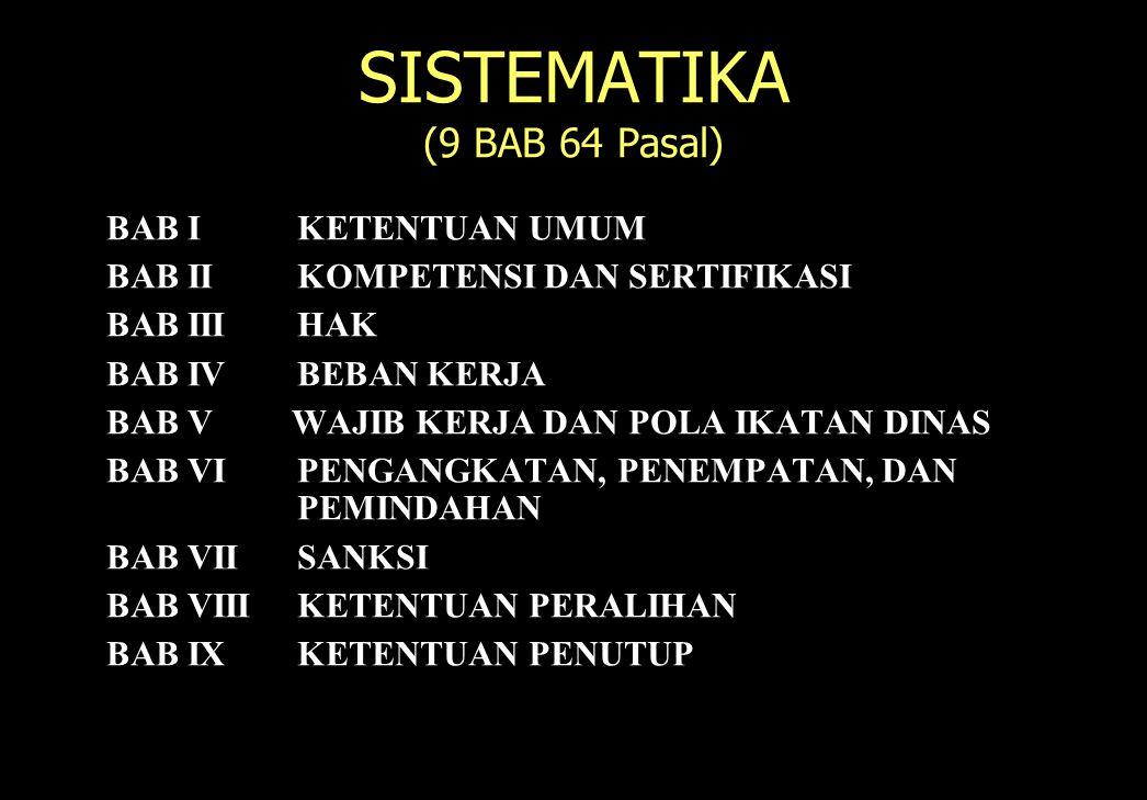 122 SISTEMATIKA (9 BAB 64 Pasal) BAB IKETENTUAN UMUM BAB IIKOMPETENSI DAN SERTIFIKASI BAB IIIHAK BAB IVBEBAN KERJA BAB V WAJIB KERJA DAN POLA IKATAN D