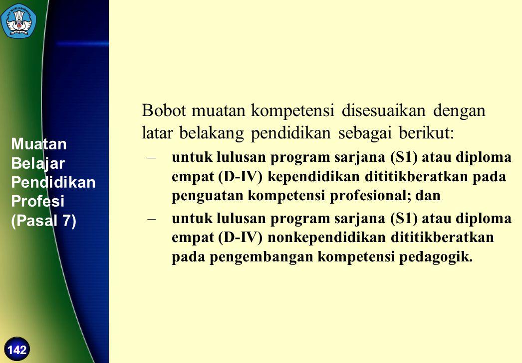 142 Muatan Belajar Pendidikan Profesi (Pasal 7) Bobot muatan kompetensi disesuaikan dengan latar belakang pendidikan sebagai berikut: –untuk lulusan p