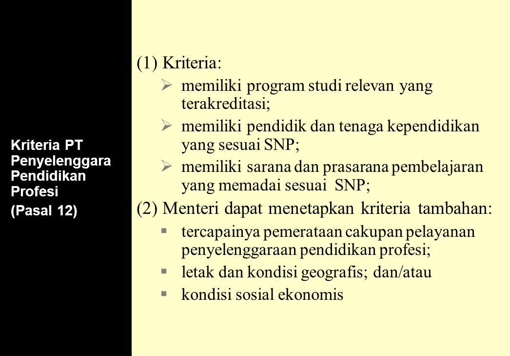 150 Kriteria PT Penyelenggara Pendidikan Profesi (Pasal 12) (1) Kriteria:  memiliki program studi relevan yang terakreditasi;  memiliki pendidik dan