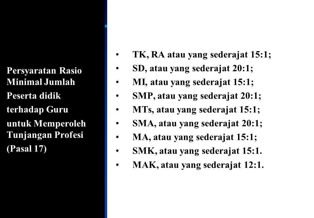 155 Persyaratan Rasio Minimal Jumlah Peserta didik terhadap Guru untuk Memperoleh Tunjangan Profesi (Pasal 17) •TK, RA atau yang sederajat 15:1; •SD,