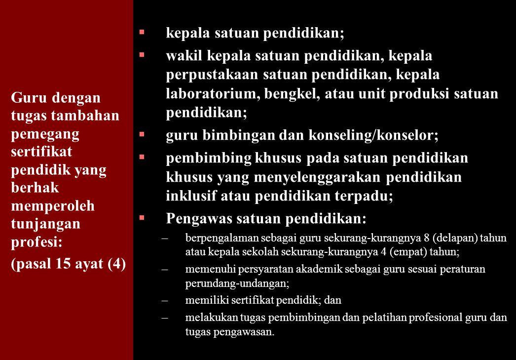 156 Guru dengan tugas tambahan pemegang sertifikat pendidik yang berhak memperoleh tunjangan profesi: (pasal 15 ayat (4)  kepala satuan pendidikan; 