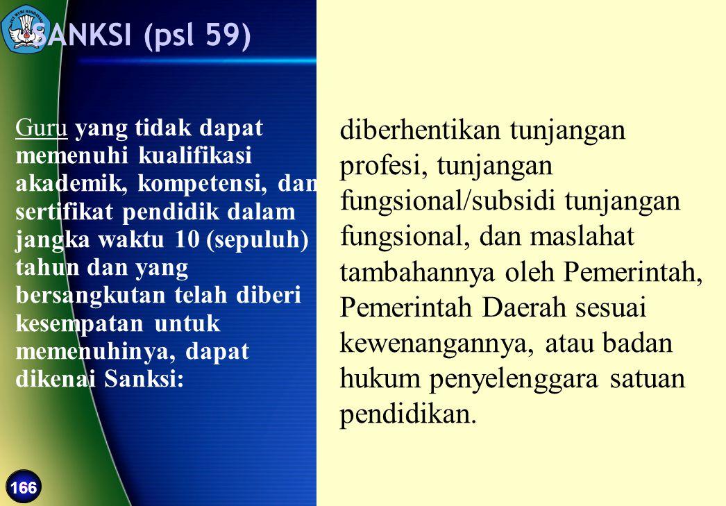 166 Guru yang tidak dapat memenuhi kualifikasi akademik, kompetensi, dan sertifikat pendidik dalam jangka waktu 10 (sepuluh) tahun dan yang bersangkut