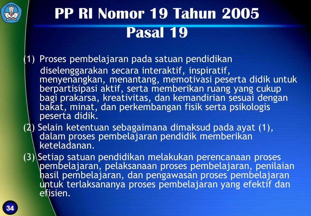 34 PP RI Nomor 19 Tahun 2005 Pasal 19 (1)Proses pembelajaran pada satuan pendidikan diselenggarakan secara interaktif, inspiratif, menyenangkan, menan