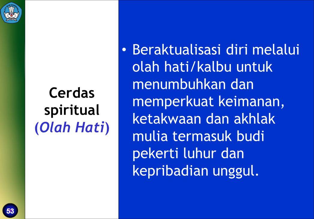 53 Cerdas spiritual (Olah Hati) •Beraktualisasi diri melalui olah hati/kalbu untuk menumbuhkan dan memperkuat keimanan, ketakwaan dan akhlak mulia ter