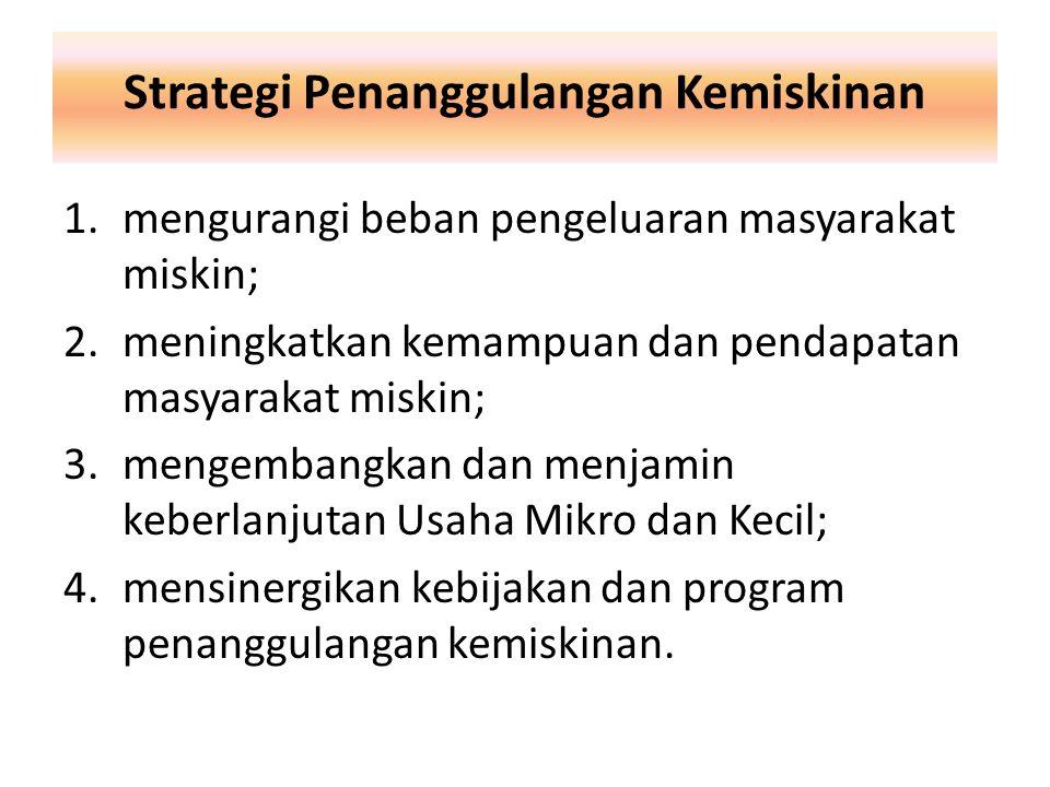 Strategi Penanggulangan Kemiskinan 1.mengurangi beban pengeluaran masyarakat miskin; 2.meningkatkan kemampuan dan pendapatan masyarakat miskin; 3.meng