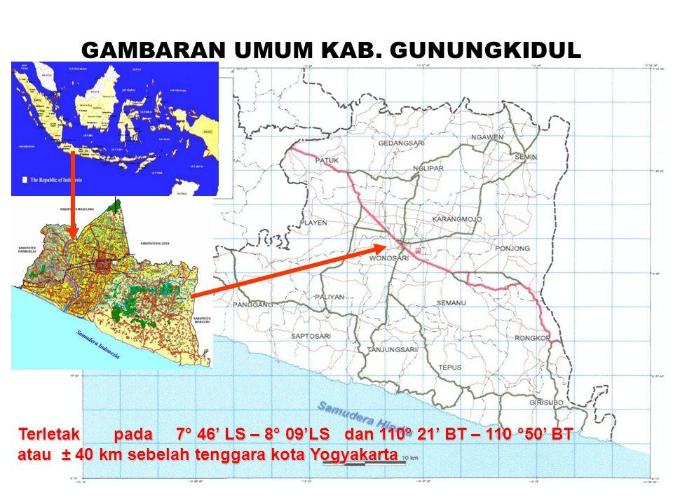 GAMBARAN UMUM KAB. GUNUNGKIDUL Terletak pada 7° 46' LS – 8° 09'LS dan 110° 21' BT – 110 °50' BT atau ± 40 km sebelah tenggara kota Yogyakarta