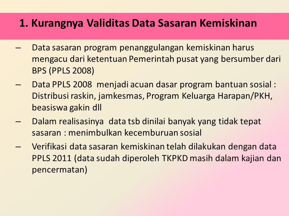 1. Kurangnya Validitas Data Sasaran Kemiskinan – Data sasaran program penanggulangan kemiskinan harus mengacu dari ketentuan Pemerintah pusat yang ber