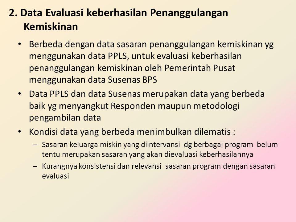 2. Data Evaluasi keberhasilan Penanggulangan Kemiskinan • Berbeda dengan data sasaran penanggulangan kemiskinan yg menggunakan data PPLS, untuk evalua