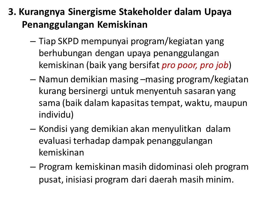 3. Kurangnya Sinergisme Stakeholder dalam Upaya Penanggulangan Kemiskinan – Tiap SKPD mempunyai program/kegiatan yang berhubungan dengan upaya penangg