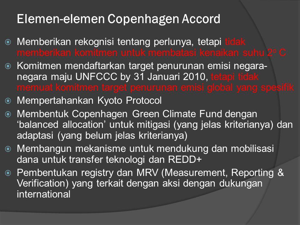 Elemen-elemen Copenhagen Accord  Memberikan rekognisi tentang perlunya, tetapi tidak memberikan komitmen untuk membatasi kenaikan suhu 2 o C  Komitmen mendaftarkan target penurunan emisi negara- negara maju UNFCCC by 31 Januari 2010, tetapi tidak memuat komitmen target penurunan emisi global yang spesifik  Mempertahankan Kyoto Protocol  Membentuk Copenhagen Green Climate Fund dengan 'balanced allocation' untuk mitigasi (yang jelas kriterianya) dan adaptasi (yang belum jelas kriterianya)  Membangun mekanisme untuk mendukung dan mobilisasi dana untuk transfer teknologi dan REDD+  Pembentukan registry dan MRV (Measurement, Reporting & Verification) yang terkait dengan aksi dengan dukungan international