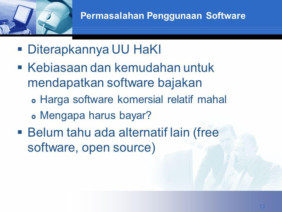 Permasalahan Penggunaan Software  Diterapkannya UU HaKI  Kebiasaan dan kemudahan untuk mendapatkan software bajakan  Harga software komersial relatif mahal  Mengapa harus bayar.