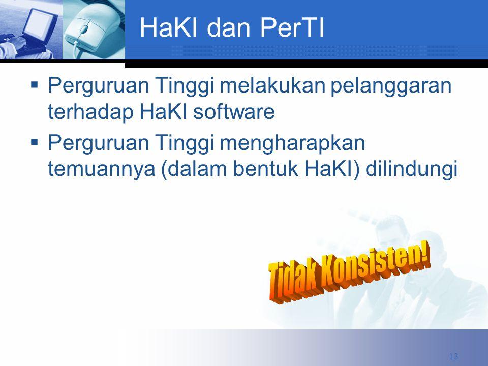 HaKI dan PerTI  Perguruan Tinggi melakukan pelanggaran terhadap HaKI software  Perguruan Tinggi mengharapkan temuannya (dalam bentuk HaKI) dilindungi 13