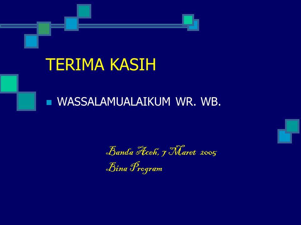 TERIMA KASIH  WASSALAMUALAIKUM WR. WB. Banda Aceh, 7 Maret 2005 Bina Program