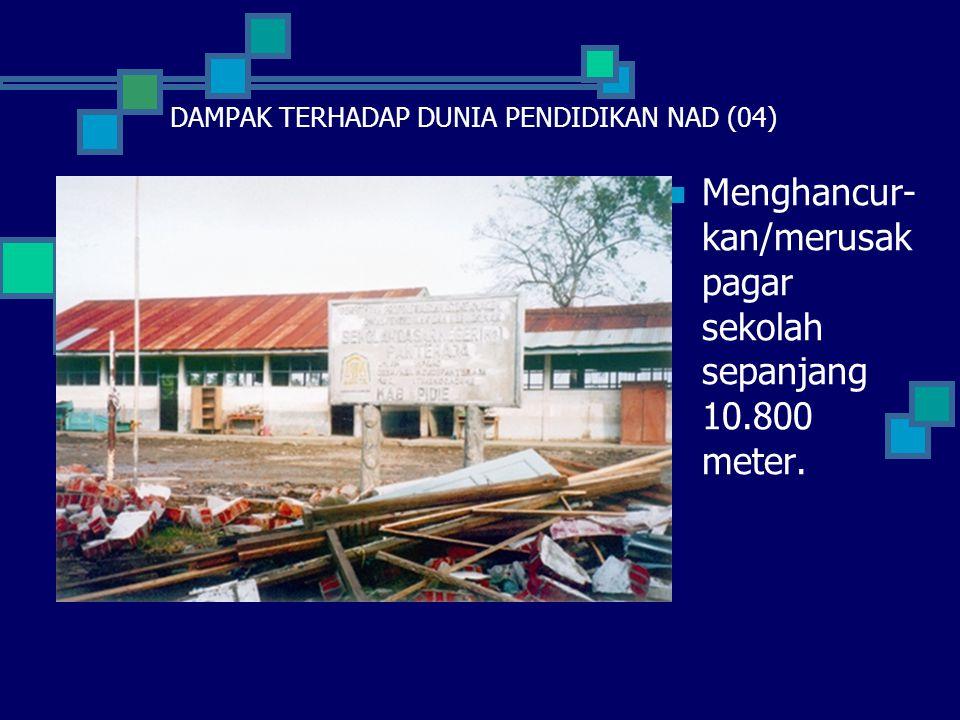  Menghan- curkan 652 unit Rumah Dinas Guru/ Kepala Sekolah/ Penjaga Sekolah.