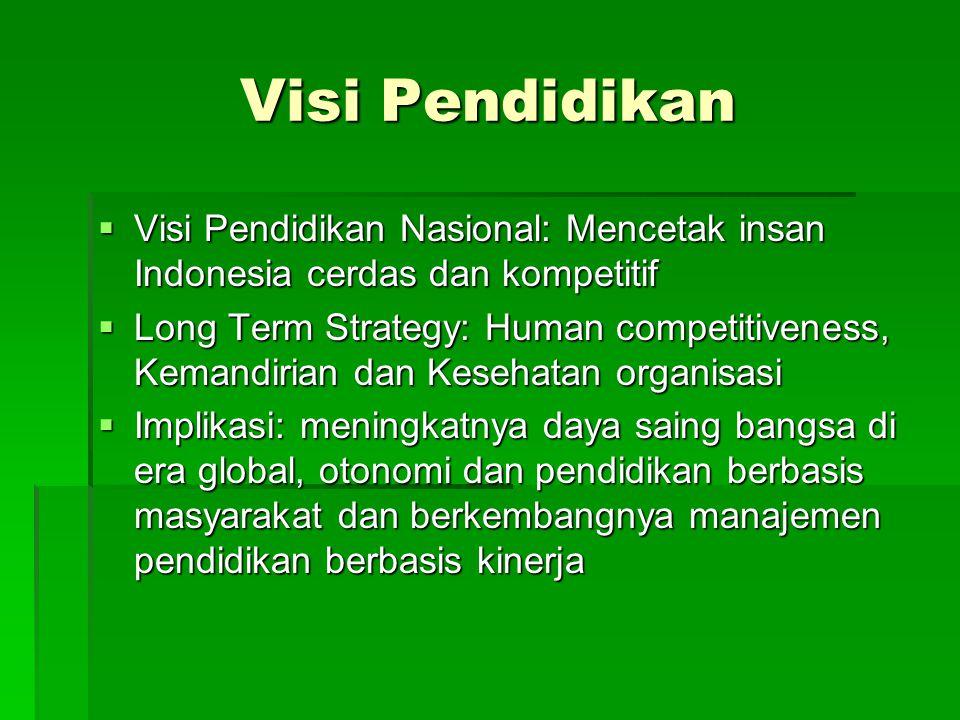 Visi Pendidikan  Visi Pendidikan Nasional: Mencetak insan Indonesia cerdas dan kompetitif  Long Term Strategy: Human competitiveness, Kemandirian da