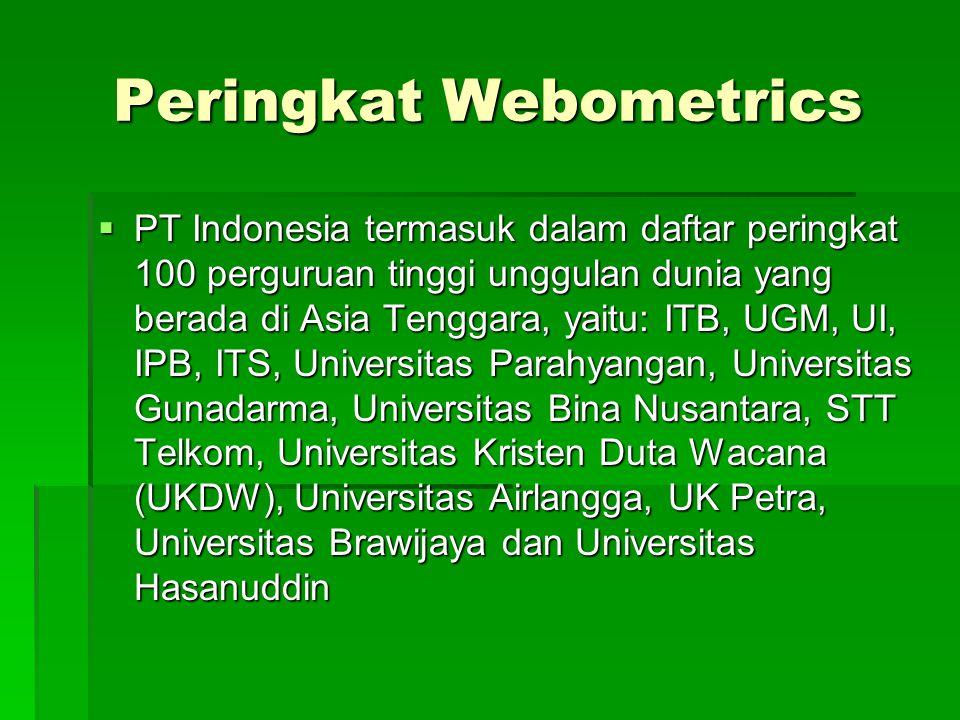 Peringkat Webometrics  PT Indonesia termasuk dalam daftar peringkat 100 perguruan tinggi unggulan dunia yang berada di Asia Tenggara, yaitu: ITB, UGM