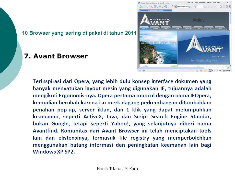 10 Browser yang sering di pakai di tahun 2011 6. MAXTHON Maxthon merupakan browser yang cocok bagi yang sering menjelajah dengan mesin pencari, karena