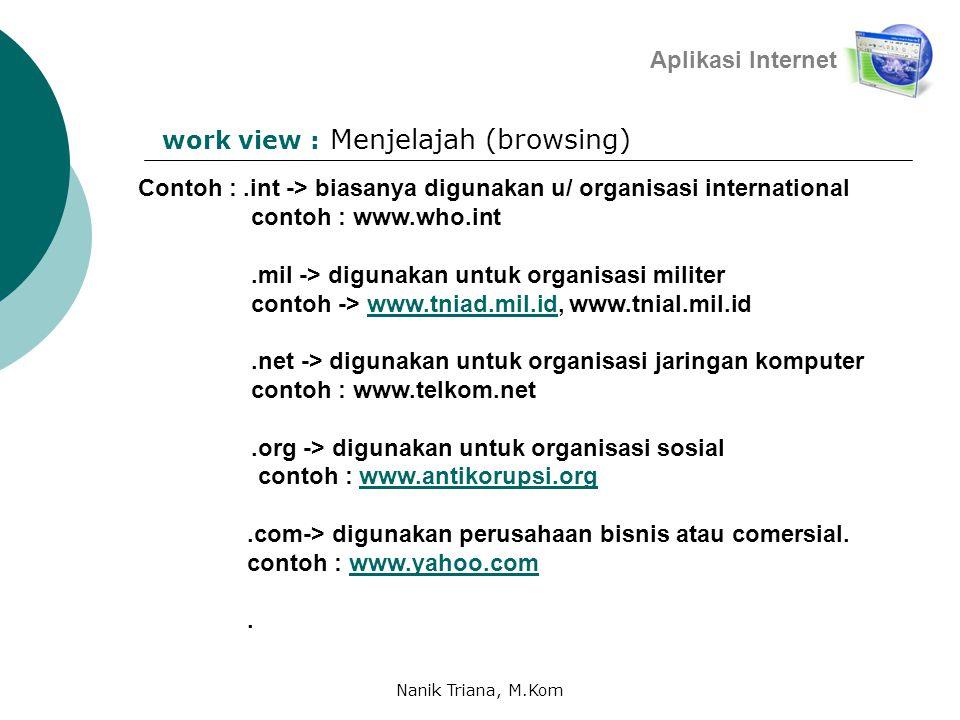 Menjelajah (browsing) Aplikasi Internet work view : Contoh :.int -> biasanya digunakan u/ organisasi international contoh : www.who.int.mil -> digunakan untuk organisasi militer contoh -> www.tniad.mil.id, www.tnial.mil.idwww.tniad.mil.id.net -> digunakan untuk organisasi jaringan komputer contoh : www.telkom.net.org -> digunakan untuk organisasi sosial contoh : www.antikorupsi.orgwww.antikorupsi.org.com-> digunakan perusahaan bisnis atau comersial.