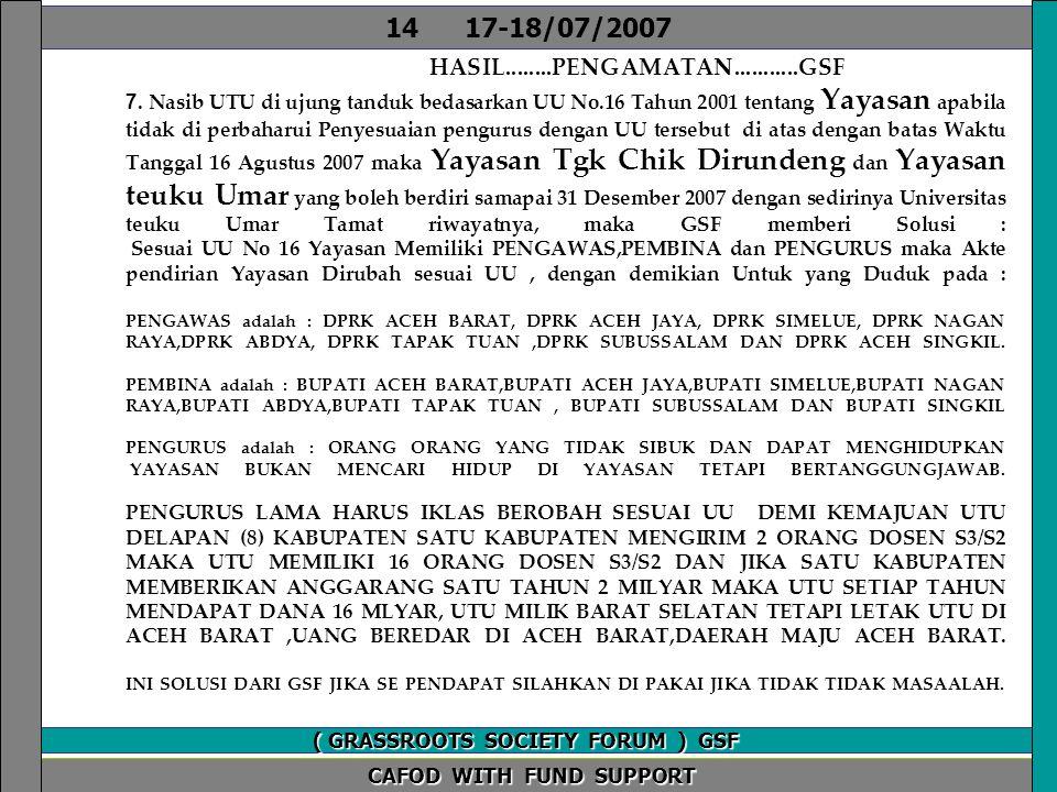 VISI GSF KEMBALI ANGGARAN PENDIDIKAN 20% TAHUN 2008.