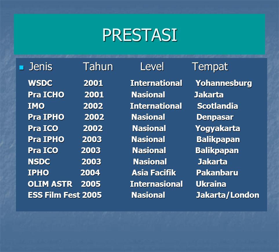 PRESTASI  Jenis Tahun Level Tempat WSDC 2001 International Yohannesburg WSDC 2001 International Yohannesburg Pra ICHO 2001 Nasional Jakarta Pra ICHO