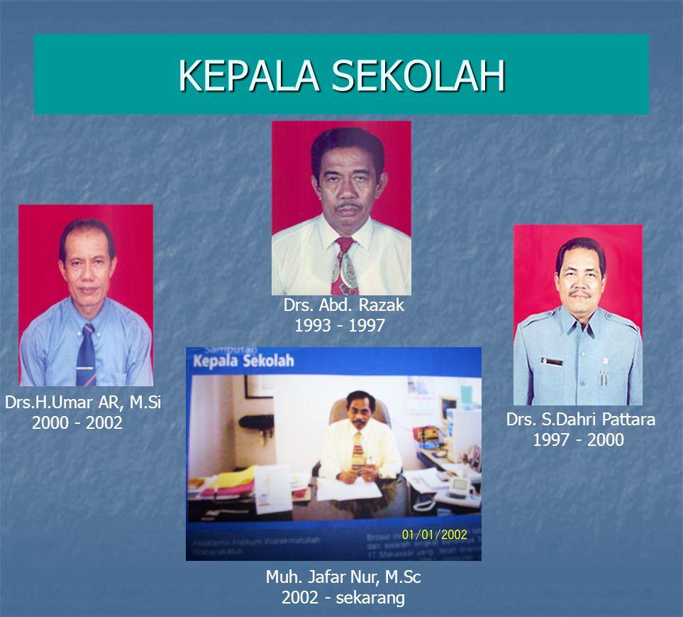 KEPALA SEKOLAH Drs. Abd. Razak 1993 - 1997 Drs. S.Dahri Pattara 1997 - 2000 Drs.H.Umar AR, M.Si 2000 - 2002 Muh. Jafar Nur, M.Sc 2002 - sekarang