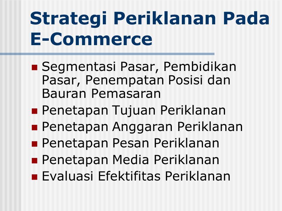 Strategi Periklanan Pada E-Commerce  Segmentasi Pasar, Pembidikan Pasar, Penempatan Posisi dan Bauran Pemasaran  Penetapan Tujuan Periklanan  Penetapan Anggaran Periklanan  Penetapan Pesan Periklanan  Penetapan Media Periklanan  Evaluasi Efektifitas Periklanan