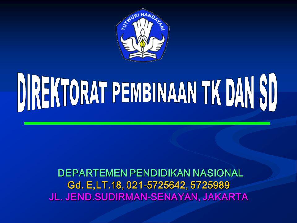DEPARTEMEN PENDIDIKAN NASIONAL DEPARTEMEN PENDIDIKAN NASIONAL Gd. E,LT.18, 021-5725642, 5725989 JL. JEND.SUDIRMAN-SENAYAN, JAKARTA