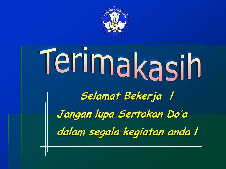 Selamat Bekerja ! Jangan lupa Sertakan Do'a dalam segala kegiatan anda !