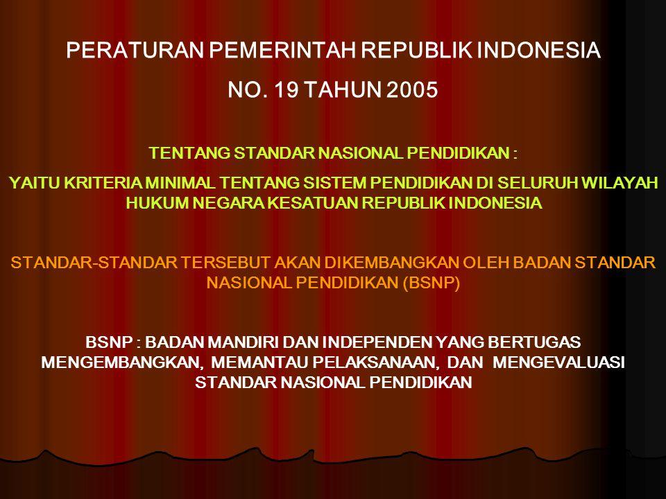 PERATURAN PEMERINTAH REPUBLIK INDONESIA NO. 19 TAHUN 2005 TENTANG STANDAR NASIONAL PENDIDIKAN : YAITU KRITERIA MINIMAL TENTANG SISTEM PENDIDIKAN DI SE