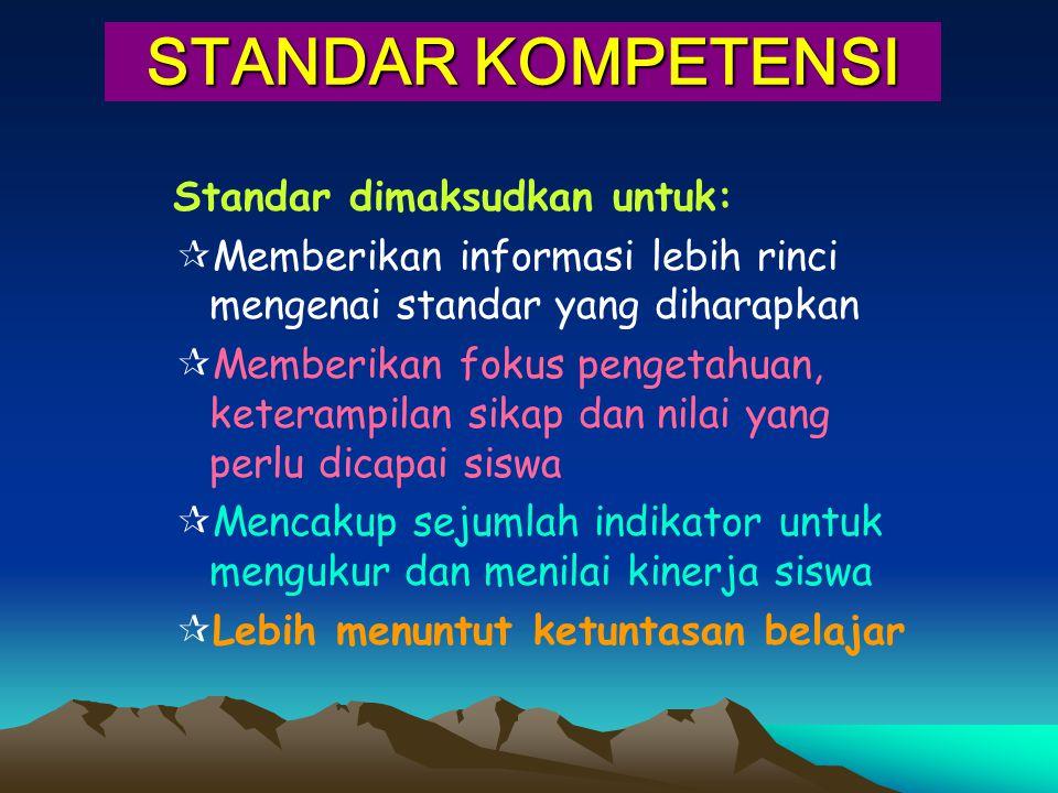 STANDAR KOMPETENSI Standar dimaksudkan untuk:  Memberikan informasi lebih rinci mengenai standar yang diharapkan  Memberikan fokus pengetahuan, kete