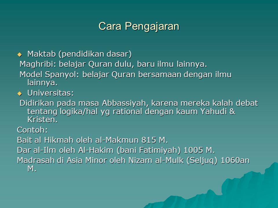Cara Pengajaran  Maktab (pendidikan dasar) Maghribi: belajar Quran dulu, baru ilmu lainnya. Maghribi: belajar Quran dulu, baru ilmu lainnya. Model Sp
