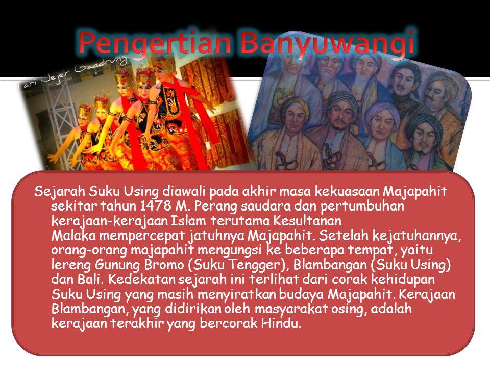 Sejarah Suku Using diawali pada akhir masa kekuasaan Majapahit sekitar tahun 1478 M. Perang saudara dan pertumbuhan kerajaan-kerajaan Islam terutama K