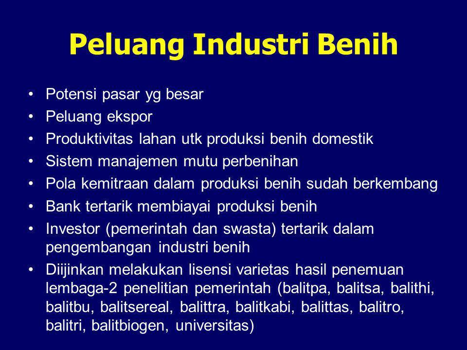 Peluang Industri Benih •Potensi pasar yg besar •Peluang ekspor •Produktivitas lahan utk produksi benih domestik •Sistem manajemen mutu perbenihan •Pol