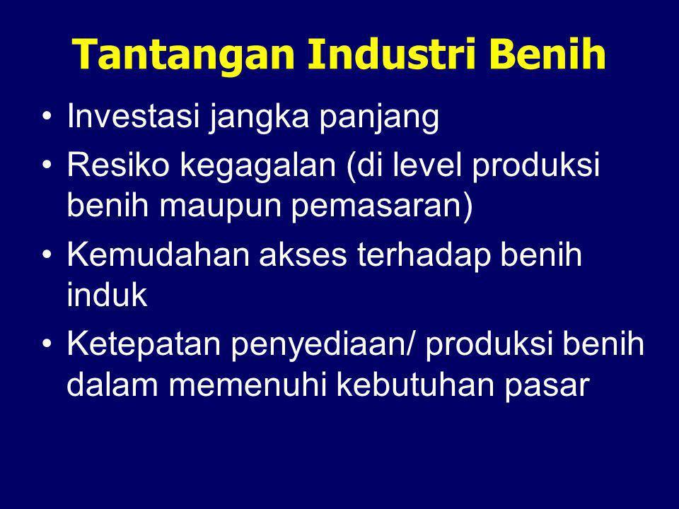 Tantangan Industri Benih •Investasi jangka panjang •Resiko kegagalan (di level produksi benih maupun pemasaran) •Kemudahan akses terhadap benih induk