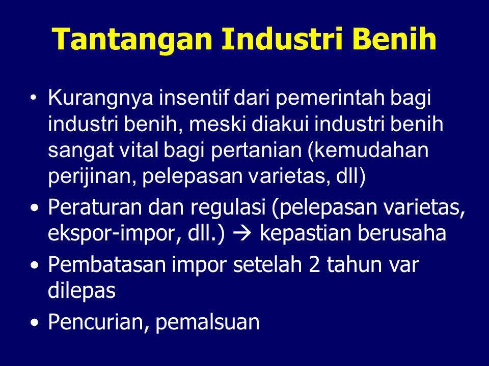 Tantangan Industri Benih •Kurangnya insentif dari pemerintah bagi industri benih, meski diakui industri benih sangat vital bagi pertanian (kemudahan p