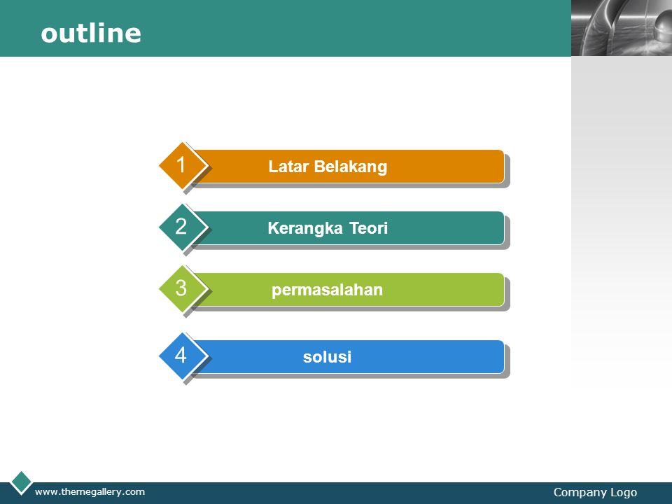 LOGO www.themegallery.com Company Logo outline Latar Belakang 1 Kerangka Teori 2 permasalahan 3 solusi 4