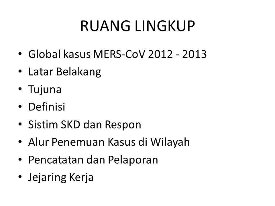 RUANG LINGKUP • Global kasus MERS-CoV 2012 - 2013 • Latar Belakang • Tujuna • Definisi • Sistim SKD dan Respon • Alur Penemuan Kasus di Wilayah • Penc