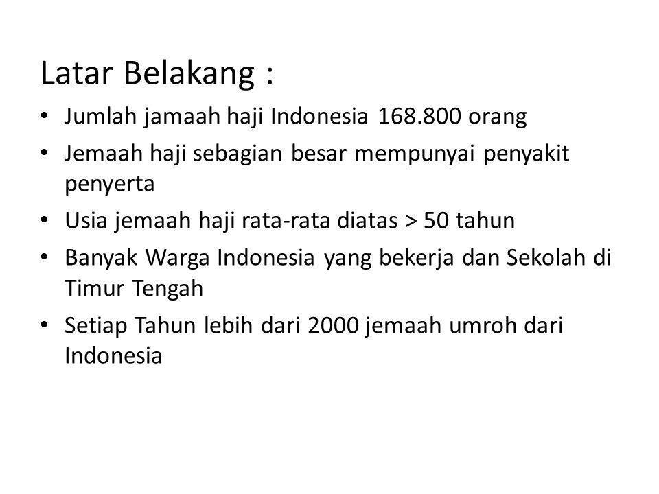 Latar Belakang : • Jumlah jamaah haji Indonesia 168.800 orang • Jemaah haji sebagian besar mempunyai penyakit penyerta • Usia jemaah haji rata-rata di
