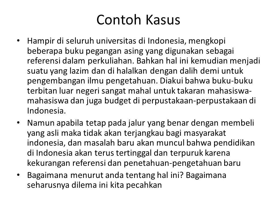 Contoh Kasus • Hampir di seluruh universitas di Indonesia, mengkopi beberapa buku pegangan asing yang digunakan sebagai referensi dalam perkuliahan. B