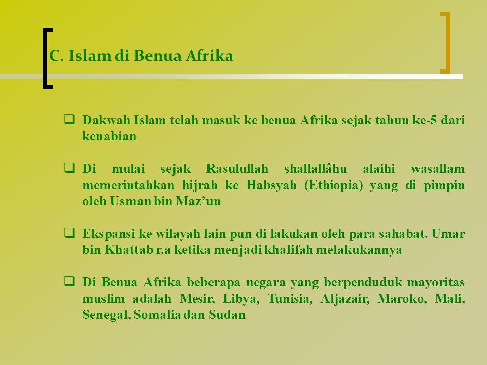  Keberadaan Kaum Muslimin di Beberapa Negara Afrika  Mesir • Terletak di pantai timur laut benua Afrika.
