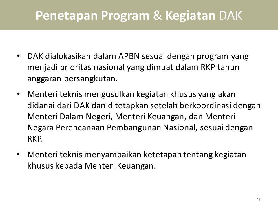 Penetapan Program & Kegiatan DAK • DAK dialokasikan dalam APBN sesuai dengan program yang menjadi prioritas nasional yang dimuat dalam RKP tahun angga