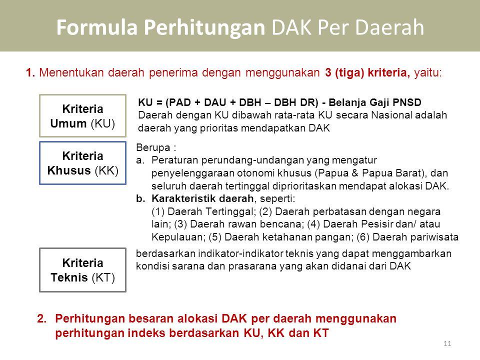 Formula Perhitungan DAK Per Daerah 11 1. Menentukan daerah penerima dengan menggunakan 3 (tiga) kriteria, yaitu: Kriteria Umum (KU) KU = (PAD + DAU +