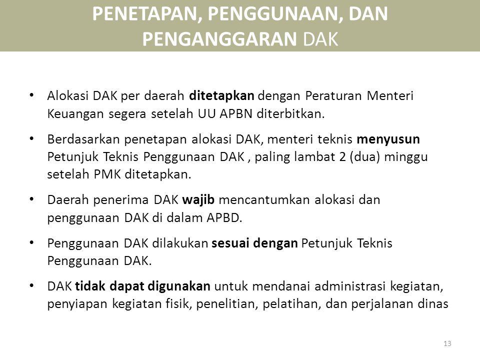 PENETAPAN, PENGGUNAAN, DAN PENGANGGARAN DAK • Alokasi DAK per daerah ditetapkan dengan Peraturan Menteri Keuangan segera setelah UU APBN diterbitkan.