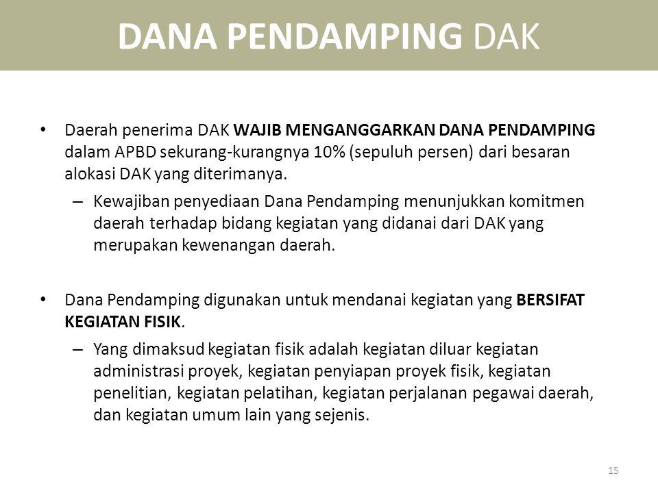 DANA PENDAMPING DAK • Daerah penerima DAK WAJIB MENGANGGARKAN DANA PENDAMPING dalam APBD sekurang-kurangnya 10% (sepuluh persen) dari besaran alokasi