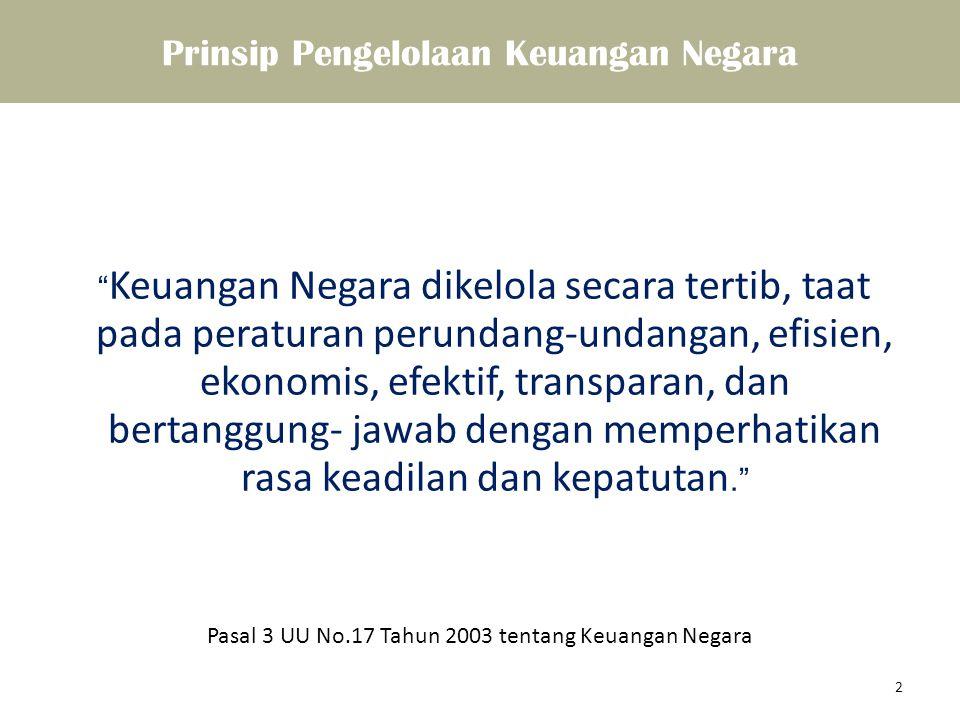 """Prinsip Pengelolaan Keuangan Negara """" Keuangan Negara dikelola secara tertib, taat pada peraturan perundang-undangan, efisien, ekonomis, efektif, tran"""